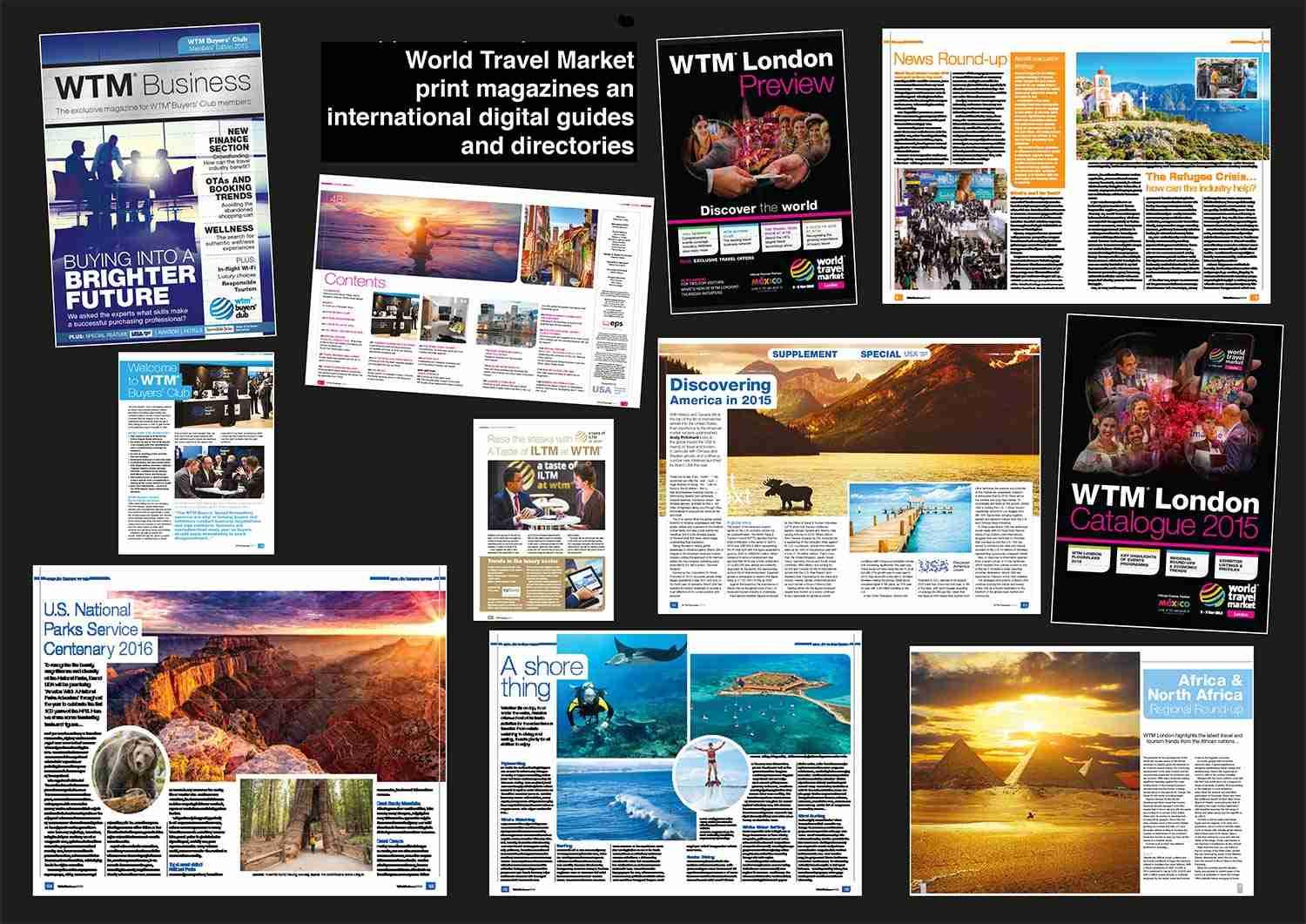 Andy Pritchard's publications in World Travel Market Magazines and international guides and directories